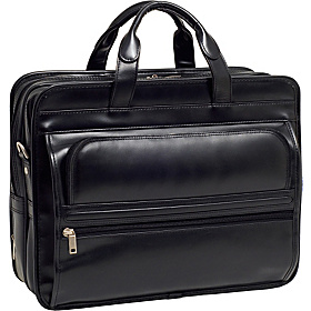 P Series Elston Leather Double Compartment Laptop Case Black