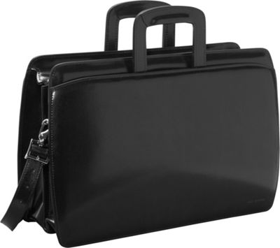Jack Georges Elements Collection Double Gusset Top Zip Laptop Leather Briefcase Black - Jack Georges Non-Wheeled Business Cases