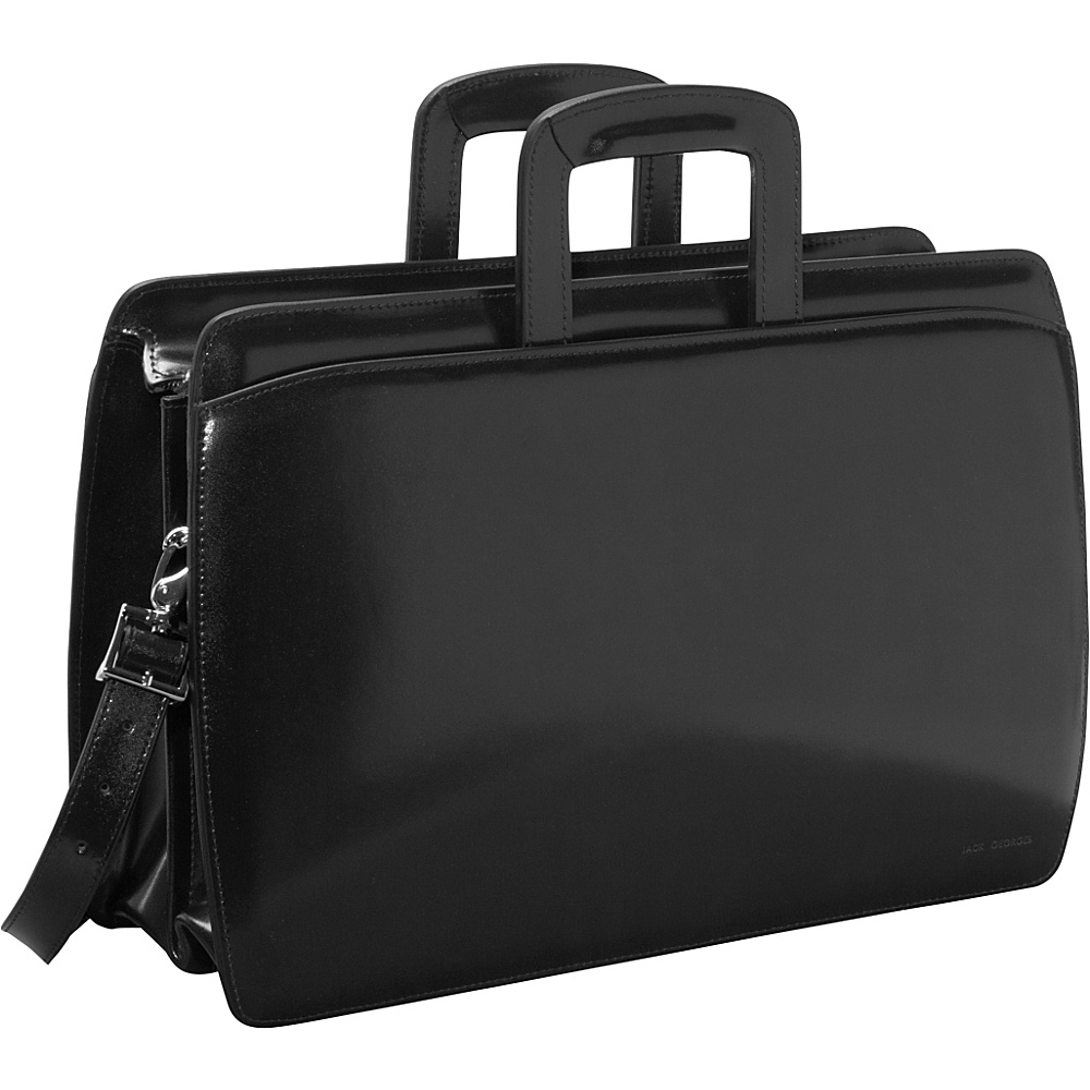 Jack Georges Elements Collection Double Gusset Top Zip Laptop Leather Briefcase Black - Jack Georges Non-Wheeled Computer Cases