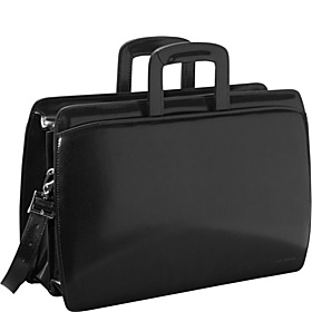 Elements Collection Double Gusset Top Zip Laptop Leather Briefcase Black