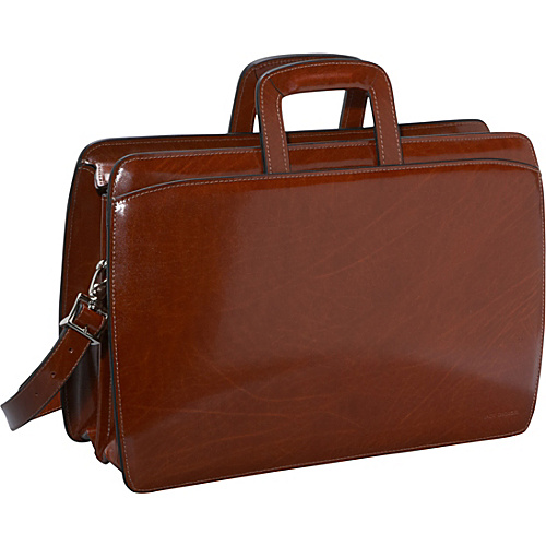 Jack Georges Elements Collection Double Gusset Top Zip Laptop Leather Briefcase Cognac - Jack Georges Non-Wheeled Computer Cases