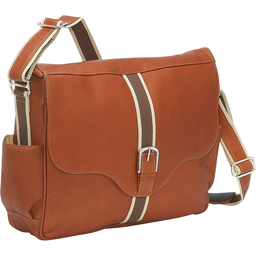 Piel European Laptop Messenger Saddle - Piel Messenger Bags - Work Bags & Briefcases, Messenger Bags