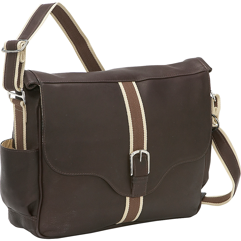 Piel European Laptop Messenger Chocolate
