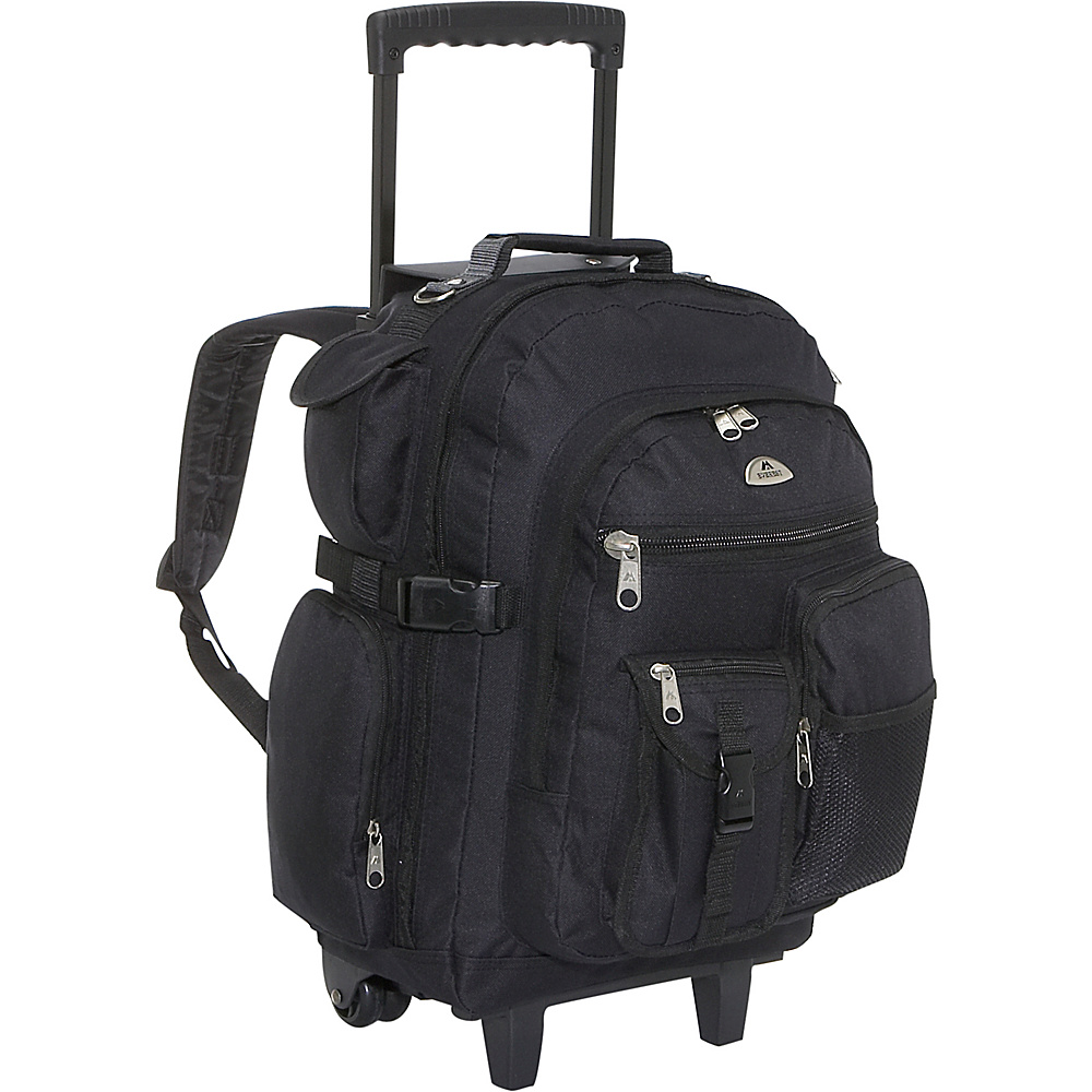 Everest Deluxe Wheeled Backpack - Black - Backpacks, Rolling Backpacks