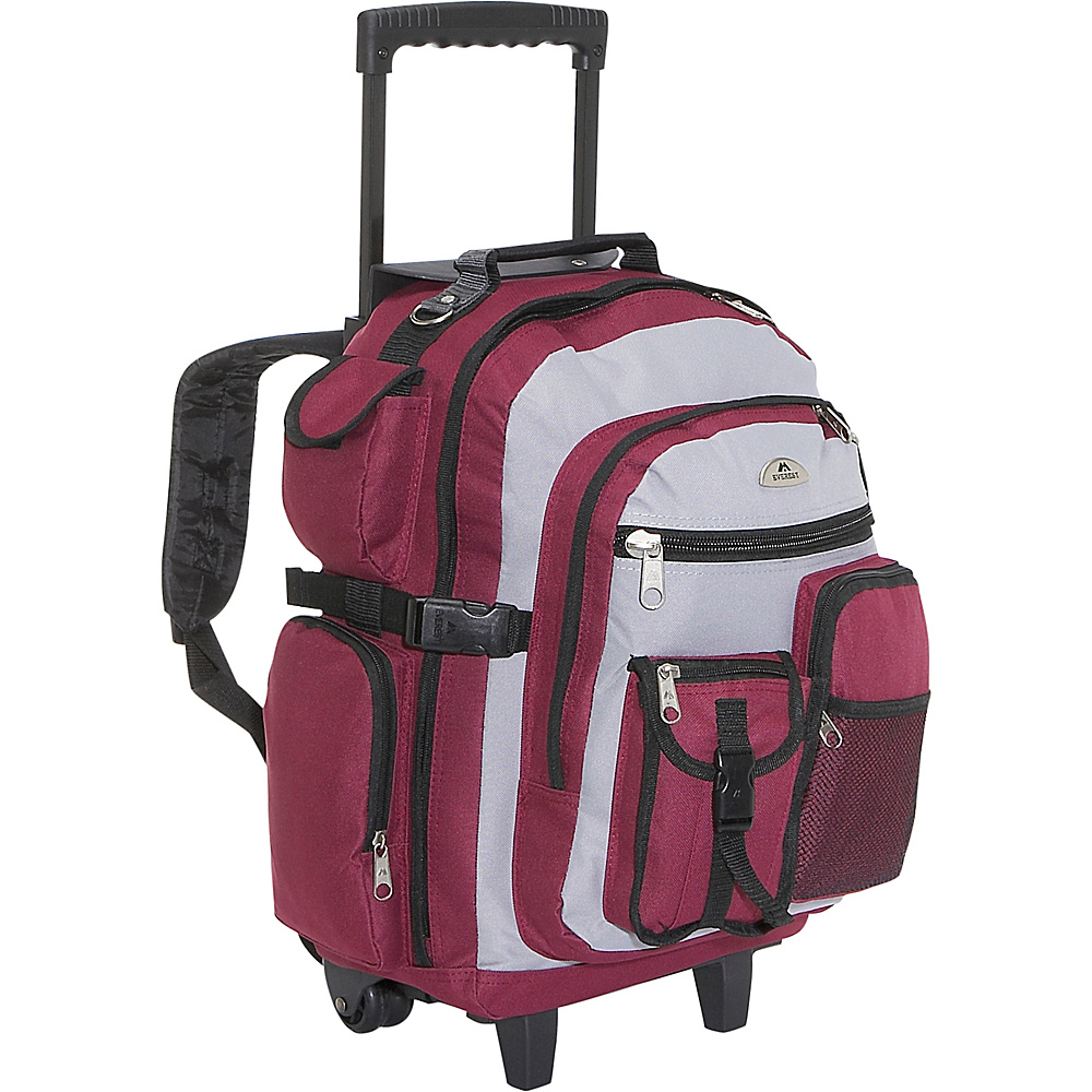 Everest Deluxe Wheeled Backpack - Burgundy/Gray/Black - Backpacks, Rolling Backpacks