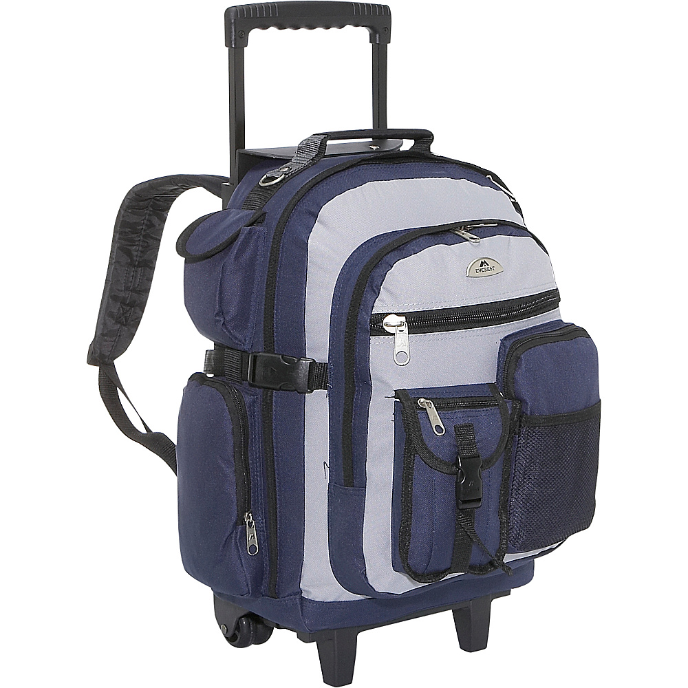 Everest Deluxe Wheeled Backpack - Navy/Gray/Black - Backpacks, Rolling Backpacks