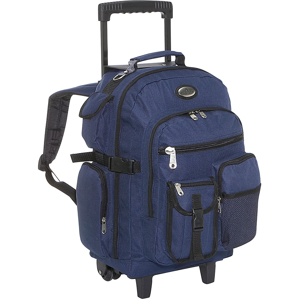 Everest Deluxe Wheeled Backpack - Navy - Backpacks, Rolling Backpacks
