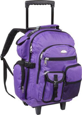 Everest Deluxe Wheeled Backpack Dark Purple - Everest Rolling Backpacks
