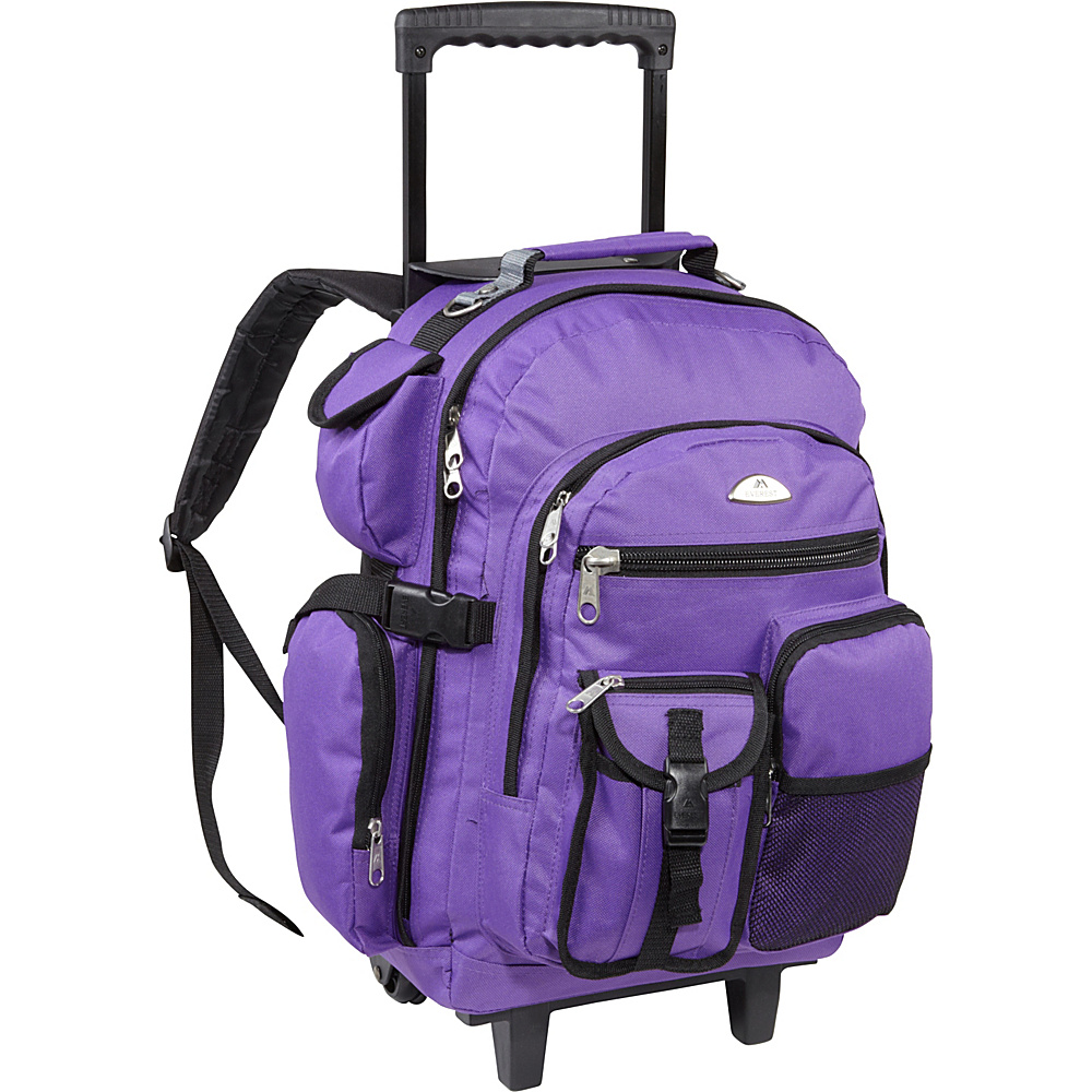 Everest Deluxe Wheeled Backpack Dark Purple - Everest Rolling Backpacks
