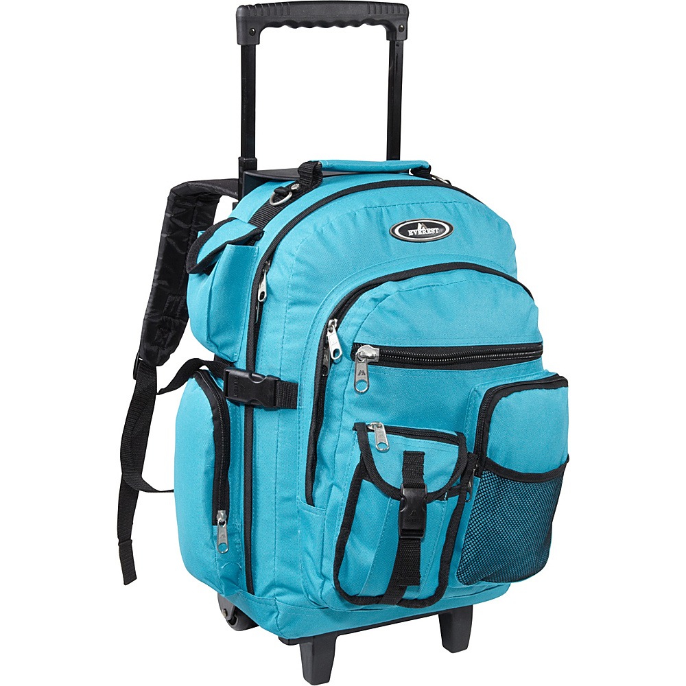 Everest Deluxe Wheeled Backpack Turquoise - Everest Rolling Backpacks