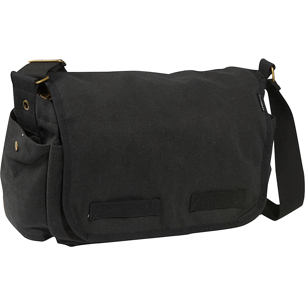 Everest Large Cotton Canvas Messenger Bag - Black - Work Bags & Briefcases, Messenger Bags