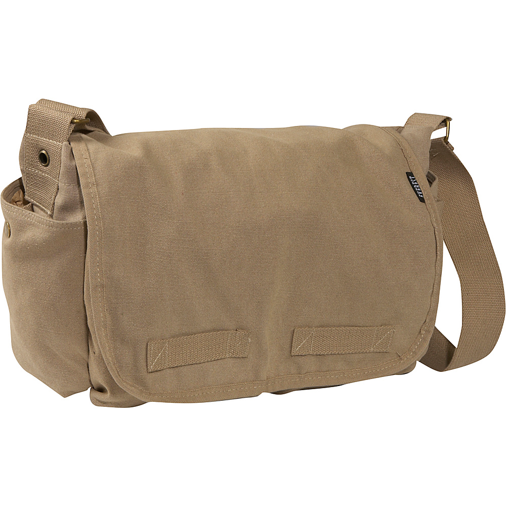 Everest Large Cotton Canvas Messenger Bag - Khaki - Work Bags & Briefcases, Messenger Bags