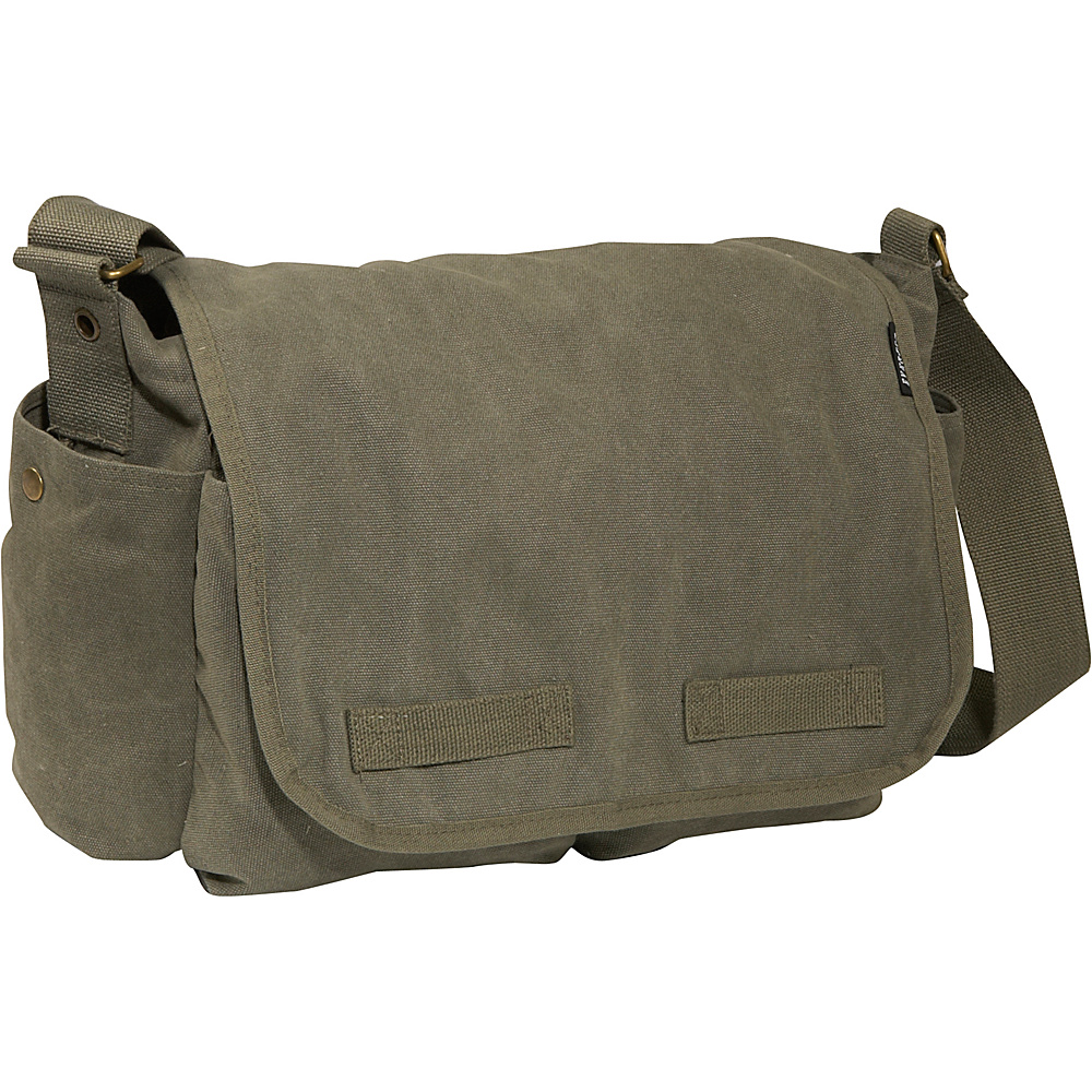 Everest Large Cotton Canvas Messenger Bag - Olive - Work Bags & Briefcases, Messenger Bags