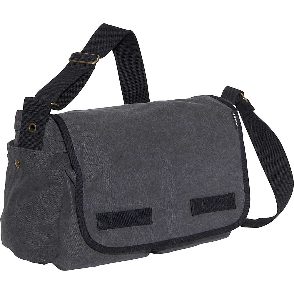 Everest Large Cotton Canvas Messenger Bag - Charcoal - Work Bags & Briefcases, Messenger Bags