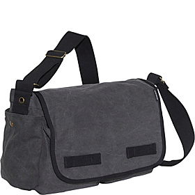 Large Cotton Canvas Messenger Bag Charcoal