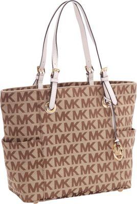 MICHAEL Michael Kors MK Logo E/W Signature Tote Bag Beige/Ebony/Mocha - MICHAEL Michael Kors Designer Handbags