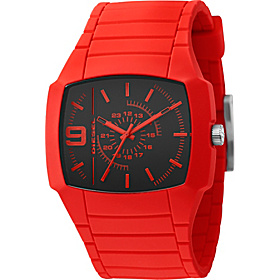 Men's Bright Red Color Domination Analog Black Dial Watch Red