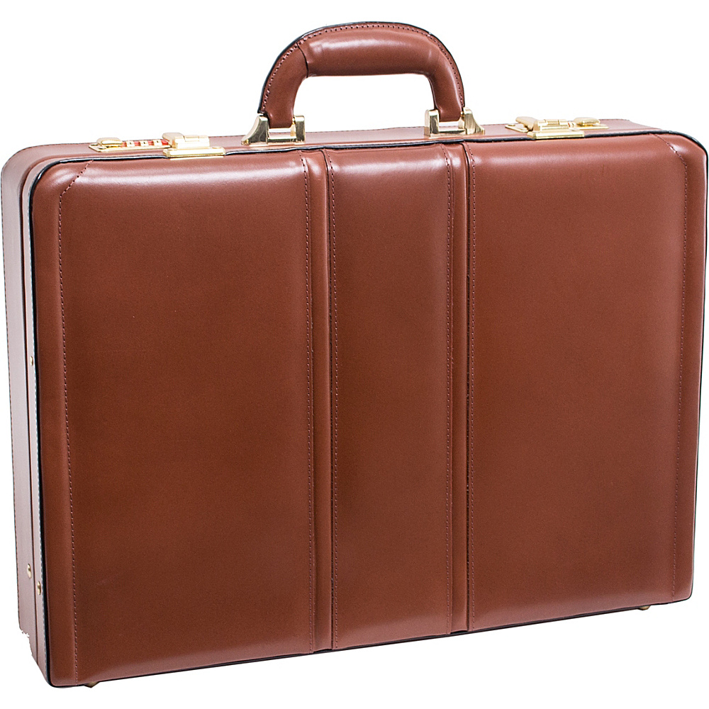 McKlein USA Daley Leather Attache Case - Brown - Work Bags & Briefcases, Non-Wheeled Business Cases
