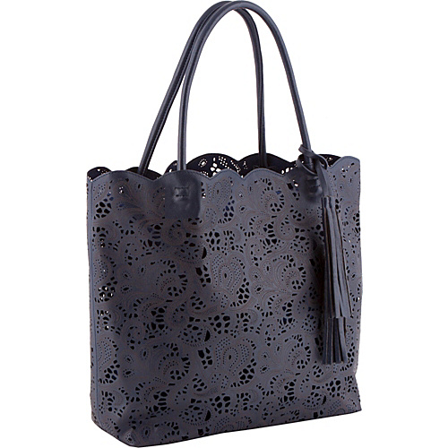 Jesselli Couture Large Lace Cut out Tote Navy with navy - Jesselli Couture Leather Handbags