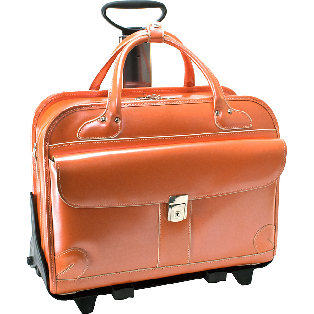 McKlein USA Lakewood -Fly-Through 15 Checkpoint-Friendly Removable Rolling Ladies Briefcase Orange - McKlein USA Wheeled Business Cases - Work Bags & Briefcases, Wheeled Business Cases