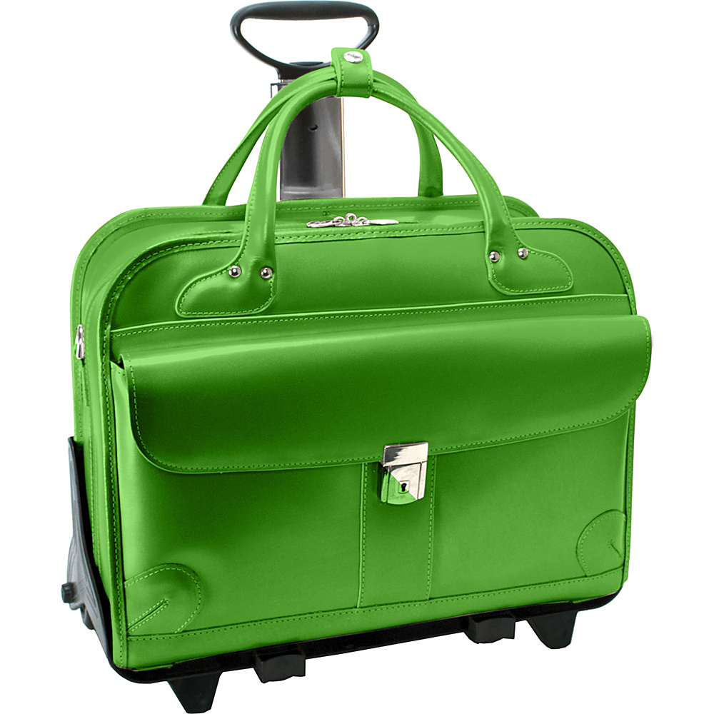 McKlein USA Lakewood -Fly-Through 15 Checkpoint-Friendly Removable Rolling Ladies Briefcase Green - McKlein USA Wheeled Business Cases - Work Bags & Briefcases, Wheeled Business Cases