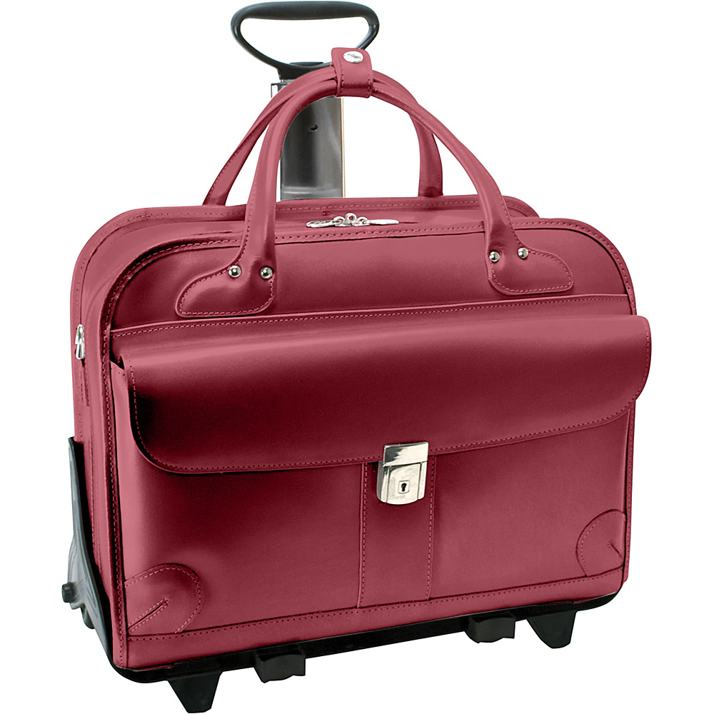 McKlein USA Lakewood -Fly-Through 15 Checkpoint-Friendly Removable Rolling Ladies Briefcase Red - McKlein USA Wheeled Business Cases - Work Bags & Briefcases, Wheeled Business Cases
