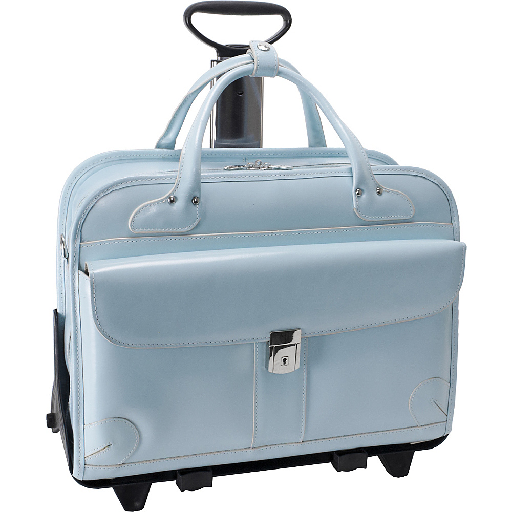 McKlein USA Lakewood -Fly-Through Checkpoint-Friendly Removable Rolling Ladies' Briefcase Aqua Blue - McKlein USA Ladies' Business
