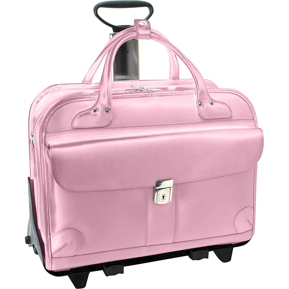 McKlein USA Lakewood -Fly-Through 15 Checkpoint-Friendly Removable Rolling Ladies Briefcase Pink - McKlein USA Wheeled Business Cases - Work Bags & Briefcases, Wheeled Business Cases