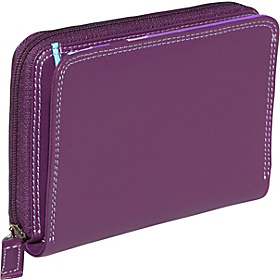 Side Zip Bifold Multi Color Wallet in Black Rainbow Combination Purple Combination