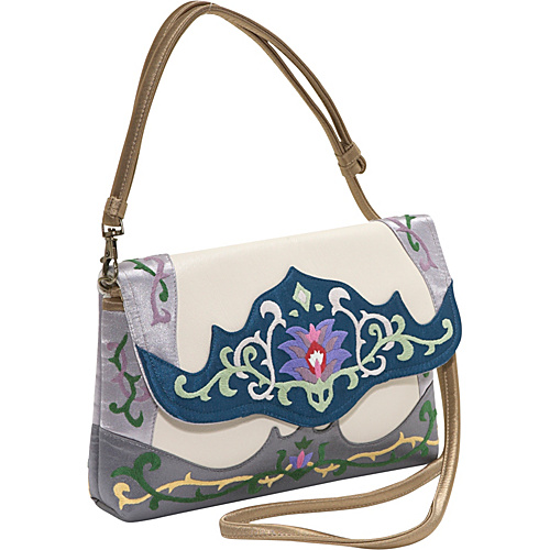 JL Lane Capri-Leather White with Navy - JL Lane Leather Handbags