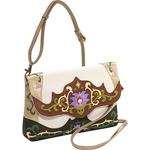 JL Lane Capri-Leather White with Brown - JL Lane Leather Handbags