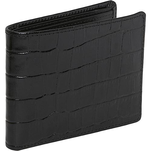Joseph Abboud Wallets Croc Grain Leather Bifold Black - Joseph Abboud Wallets Mens Wallets