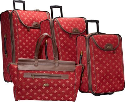 American Flyer Lyon 4-Piece Luggage Set Red - American Flyer Luggage Sets