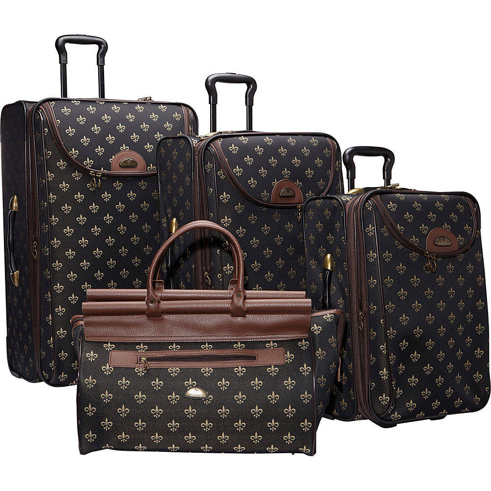 American Flyer Lyon 4-Piece Luggage Set Black - American Flyer Luggage Sets