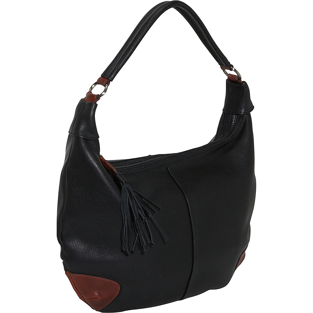 Derek Alexander Two Top Zip Hobo - BLACK/BRANDY - Handbags, Leather Handbags