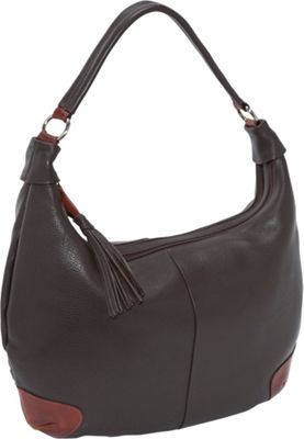 Derek Alexander Two Top Zip Hobo - Brown/Brandy
