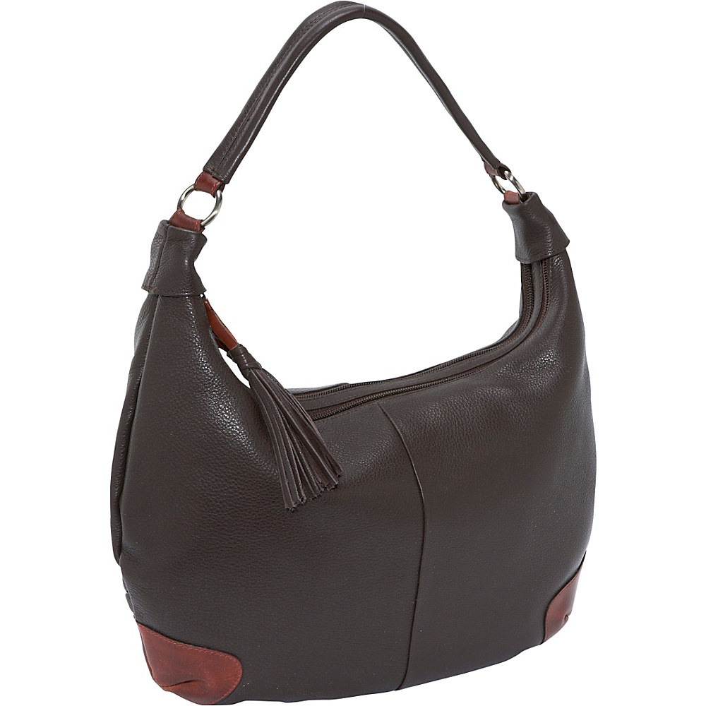 Derek Alexander Two Top Zip Hobo - Brown/Brandy - Handbags, Leather Handbags