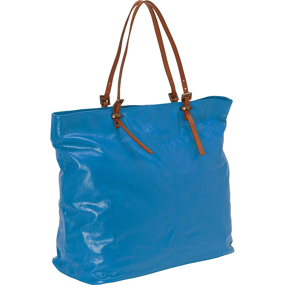Latico Leathers Nadia Tote Blue/Tan - Latico Leathers Leather Handbags - Handbags, Leather Handbags