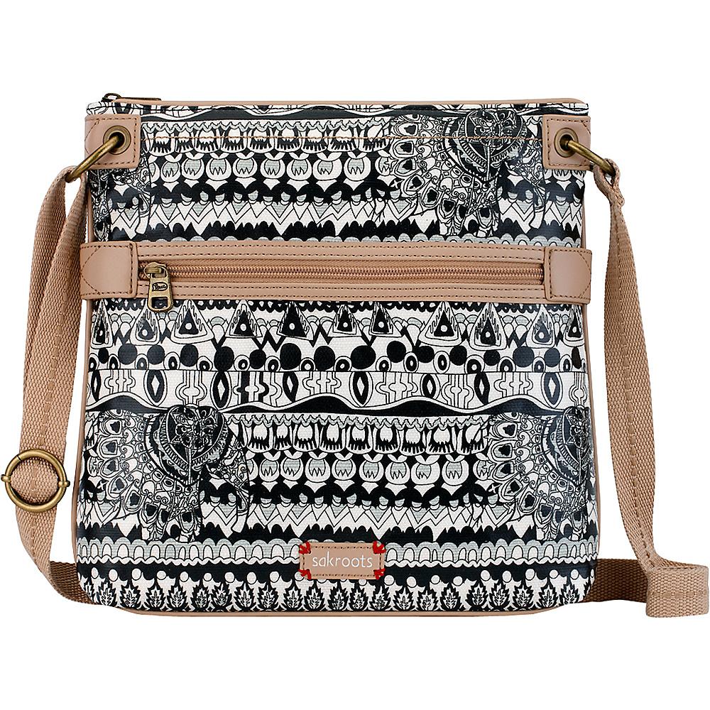 Sakroots Artist Circle Flat Crossbody Black & White One World - 10 - Sakroots Fabric Handbags - Handbags, Fabric Handbags