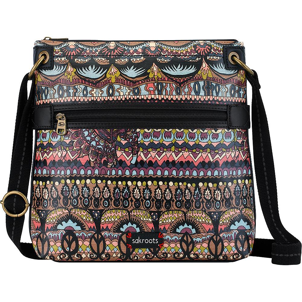 Sakroots Artist Circle Flat Crossbody Taupe One World - Sakroots Fabric Handbags - Handbags, Fabric Handbags