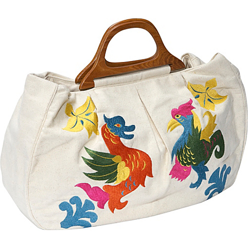 Moyna Handbags Cotton Canvas Bag with Embroidery - Tote