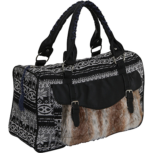 Ashley M Sweater Knit Faux Fur Satchel - Shoulder Bag