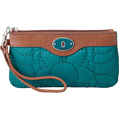 Fossil Key-Per Nylon EW Wristlet Peacock Blue - Fossil Ladies Clutch Wallets