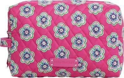 Vera Bradley Large Cosmetic Pink Swirls Flowers - Vera Bradley Ladies Cosmetic Bags