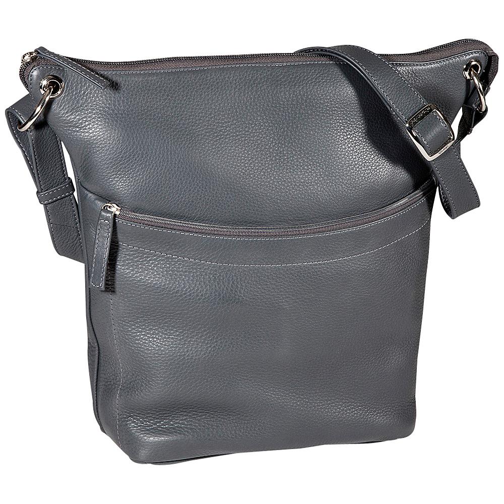 Derek Alexander NS Top Zip Bucket Grey - Derek Alexander Leather Handbags - Handbags, Leather Handbags