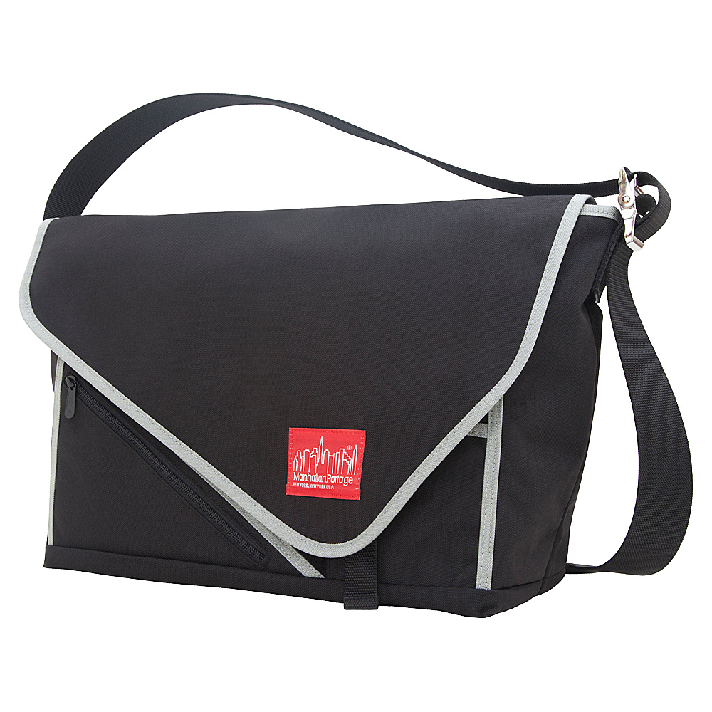 Manhattan Portage Flat Iron Laptop Messenger (LG) Black, Black, Silver - Manhattan Portage Messenger Bags - Work Bags & Briefcases, Messenger Bags