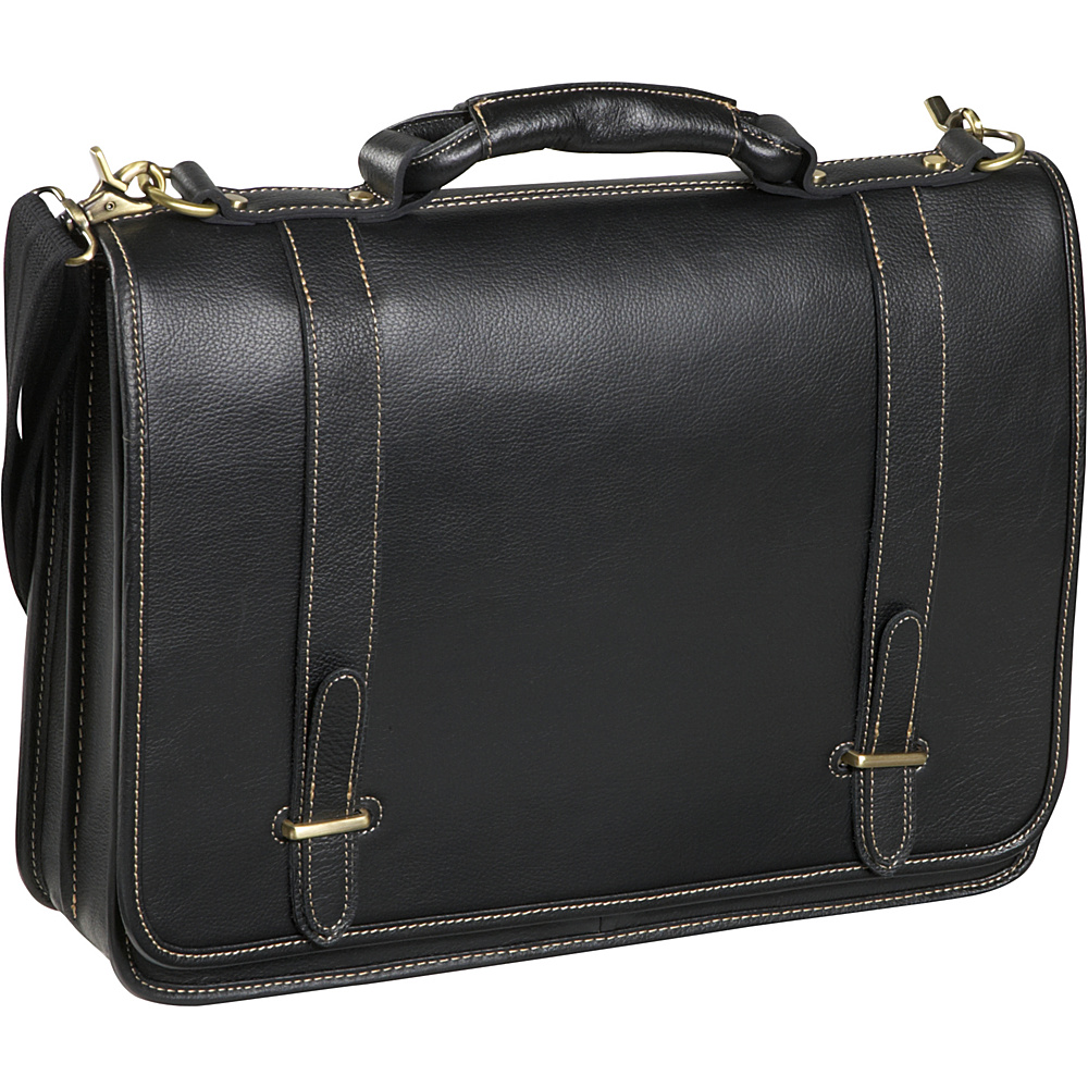 AmeriLeather Traditional Double Slip-in Executive Briefcase Black - AmeriLeather Non-Wheeled Business Cases - Work Bags & Briefcases, Non-Wheeled Business Cases