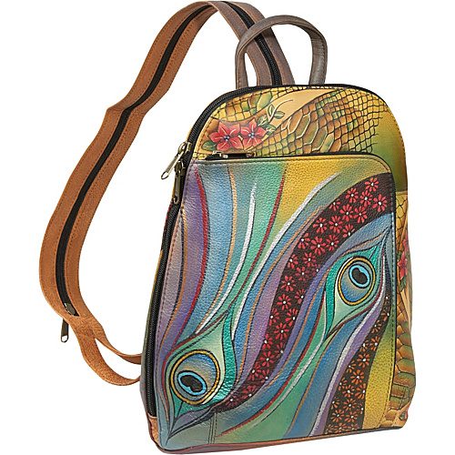 Anuschka Sling-Over Travel Backpack - Dancing Peacock