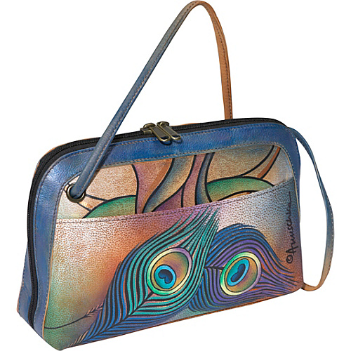 Anuschka Anuschka Multi Compartment All-Round Zip Crossbody: Peacock Lily Peacock Lily - Anuschka Leather Handbags