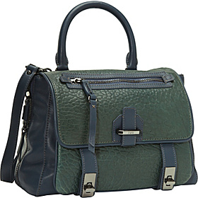 Heather Shrunken Lamb Medium Top Handle Satchel Green